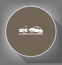 Tow truck sign white icon on brown circle vector