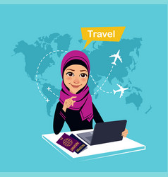 travel agency banner with charactertravel concept vector image