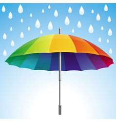 umbrella and rain drops in rainbow colors vector image