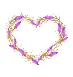 Violet Equiphyllum Flowers in Heart Shape Frame vector