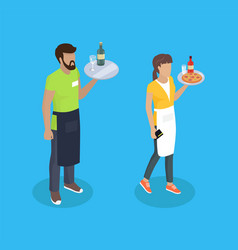 waitress and waiter with trays vector image