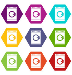 Washing machine icon set color hexahedron vector
