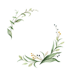 Watercolor wreath green branches and vector