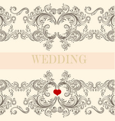 Wedding greeting invitation card with ornament vector