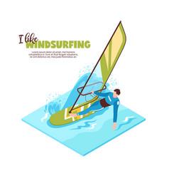 Windsurfing isometric vector