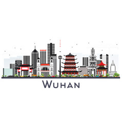 Wuhan china city skyline with gray buildings vector