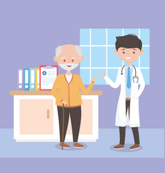 Young physician and old man in room hospital vector
