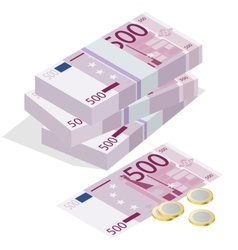 Five hundred euro banknote and one euro coin on a vector image