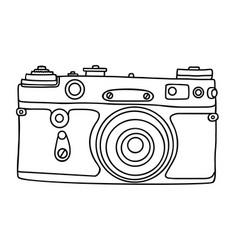 hand drawn hipster old photo camera vintage vector image