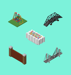 isometric city set of flower decoration vector image vector image