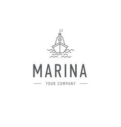 marina steering wheel logo template vector image vector image