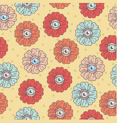 pattern with flowers eye daisy vector image vector image
