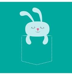 Rabbit hare sleeping in the pocket Cute cartoon vector image