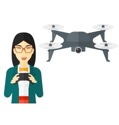 Woman flying drone vector image vector image