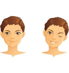 Cute boy winking and smiling vector image vector image
