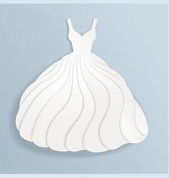 elegant paper silhouette of white wedding dress vector image vector image