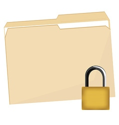 File folder and lock vector image vector image