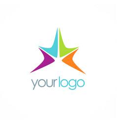 bright star color logo vector image