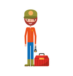 fisherman with box avatar character vector image
