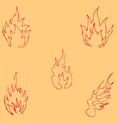 flame tongues sketch by hand pencil drawing by vector image