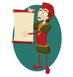 Funny Herald Showing a Blank Scroll vector image vector image