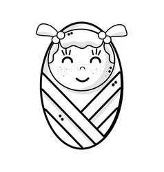line cute baby girl with hairstyle in the blanket vector image