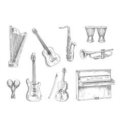 Musical instruments sketch icons for art design vector image vector image