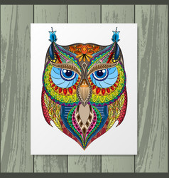 owl silhouette with paper vector image vector image
