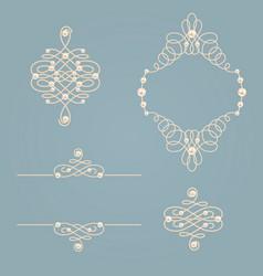 set collection of elegant golden knot frame signs vector image vector image