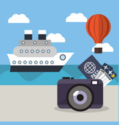 vacations ship airoon tickets passport concept vector image