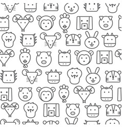 different line style icons seamless pattern zodiac vector image