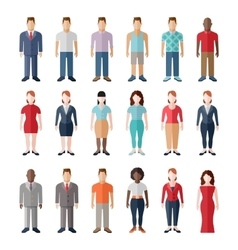 Flat style modern people in casual clothes icons vector image
