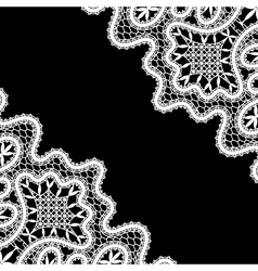 Lace corners on black vector image