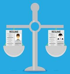 Recruitment Weighing and selection resume vector image