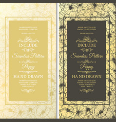 wedding cards with flowers as seamless pattern vector image