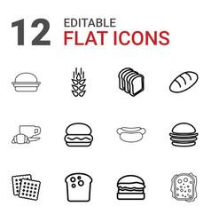 12 bread icons vector