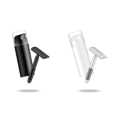 3d mock up realistic bottle shaving cosmetic vector image