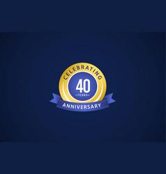 40 years anniversary celebrating blue logo vector