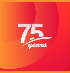 75 years anniversary color full line elegant vector