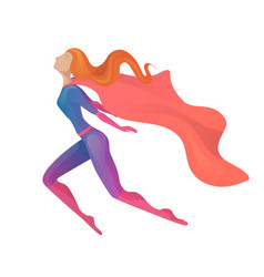 A flying super woman in costume vector