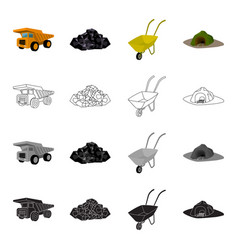 a rock a large dump truck a wheelbarrow an vector image