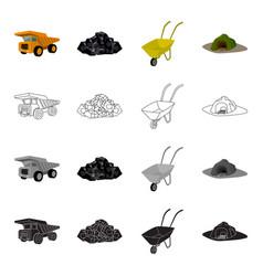 A rock a large dump truck a wheelbarrow an vector