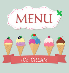 a set of five different ice cream with red ribbon vector image