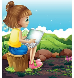 A young girl sitting above the stump while using vector