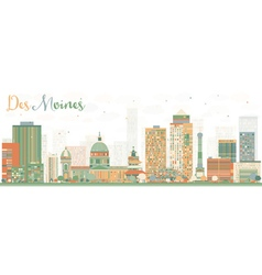 Abstract Des Moines Skyline with Color Buildings vector