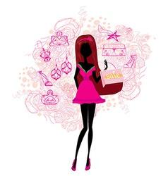 Abstract fashion girl Shopping - vector