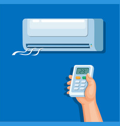 Air conditioner with remote control symbol vector