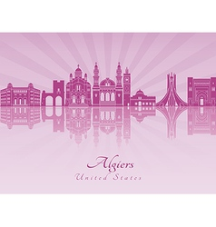 Algiers skyline in purple radiant orchid vector