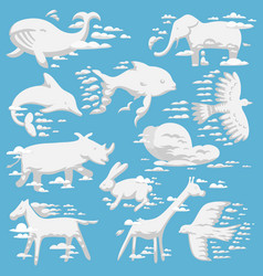 animal clouds white overcast silhouette kids vector image