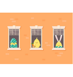 apartment building facade with neighbor easter vector image